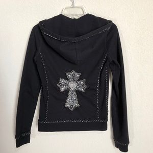 Twisted Heart Black Mixed Medium Cross Hoodie